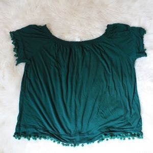 H&M green off shoulder fringe blouse sz L pullover